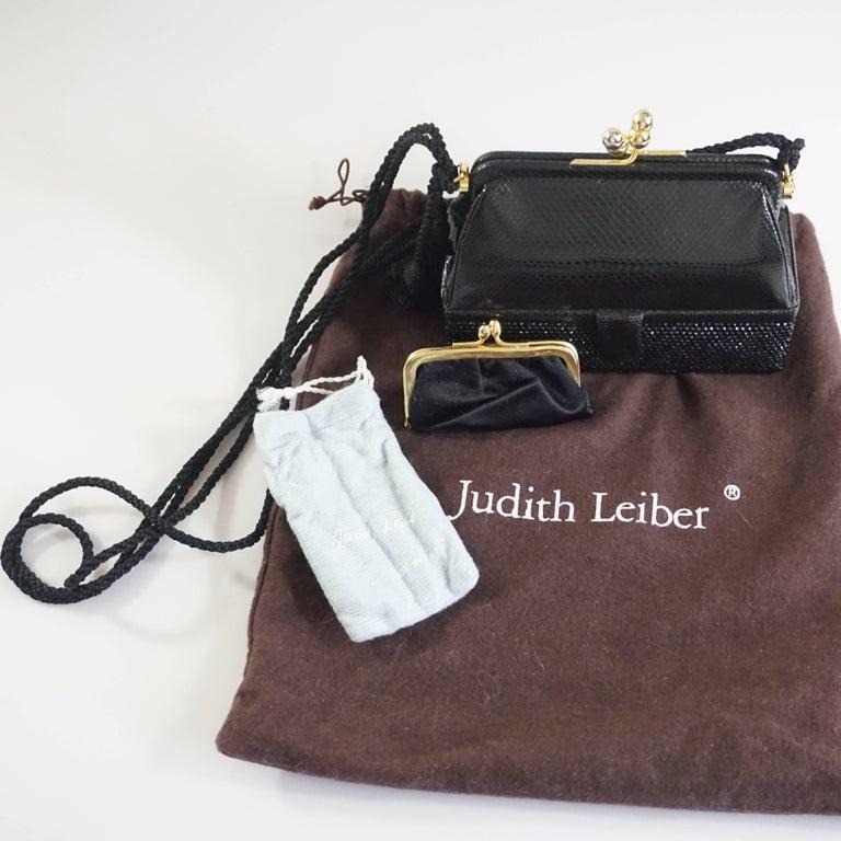 Judith Leiber Black Lizard and Rhinestone Evening Bag  For Sale 4