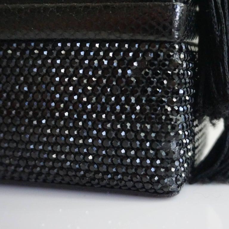 Judith Leiber Black Lizard and Rhinestone Evening Bag  For Sale 5