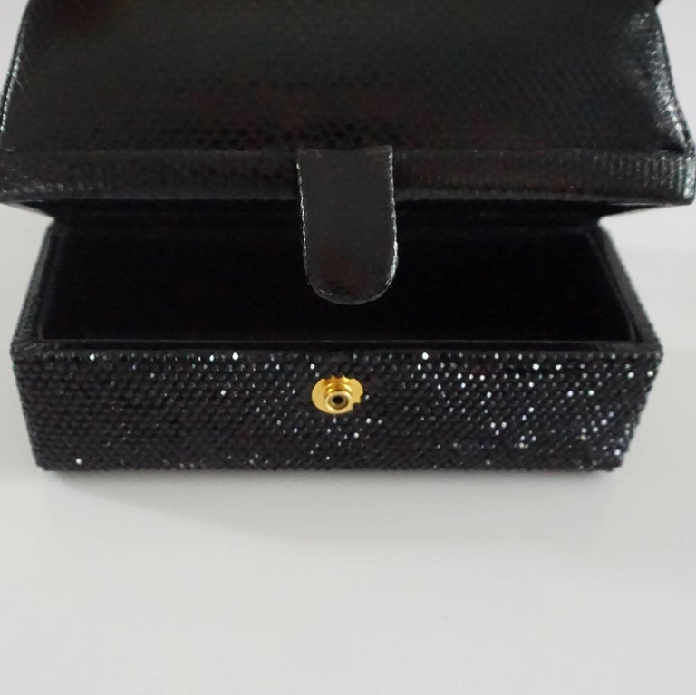 Judith Leiber Black Lizard and Rhinestone Evening Bag  For Sale 2