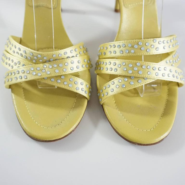 Chanel Yellow Satin And Rhinestone Sandals 38 For Sale