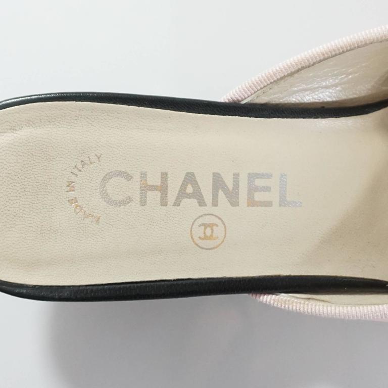 Chanel Pink and Black Cap Toe Slides - 40 For Sale 1