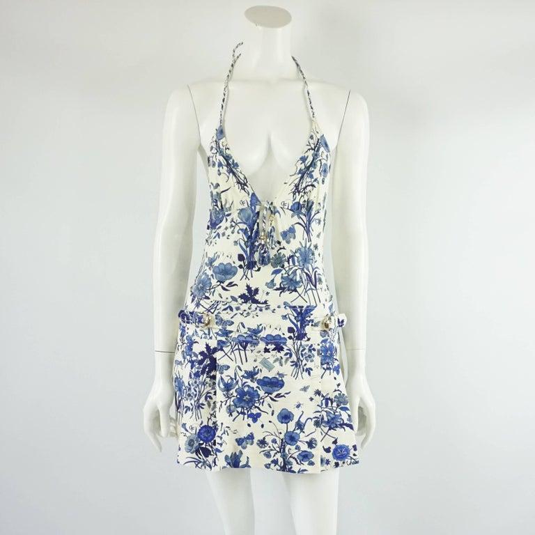 Women's Gucci Blue Floral Print Mini Skirt - 42 For Sale