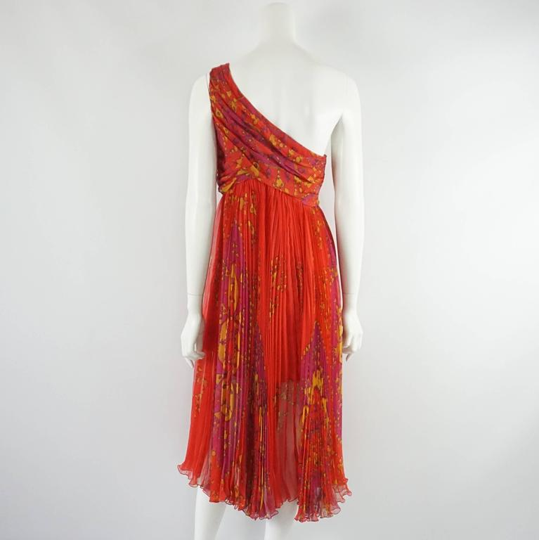 Christian Dior Red Printed One Shoulder Dress - 44 In Excellent Condition For Sale In Palm Beach, FL