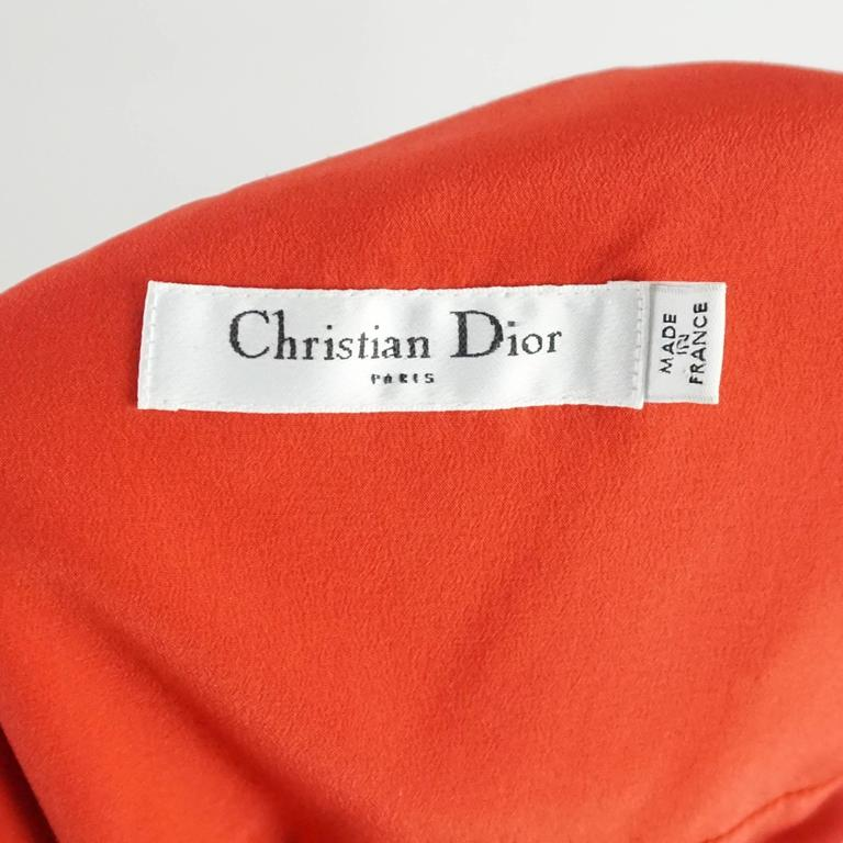 Christian Dior Red Printed One Shoulder Dress - 44 For Sale 1