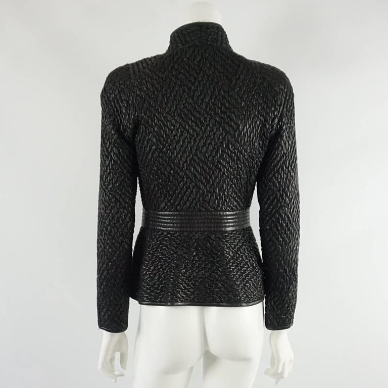 Valentino Black Ruched Leather Jacket with Belt - M - 1990s  In Good Condition For Sale In Palm Beach, FL