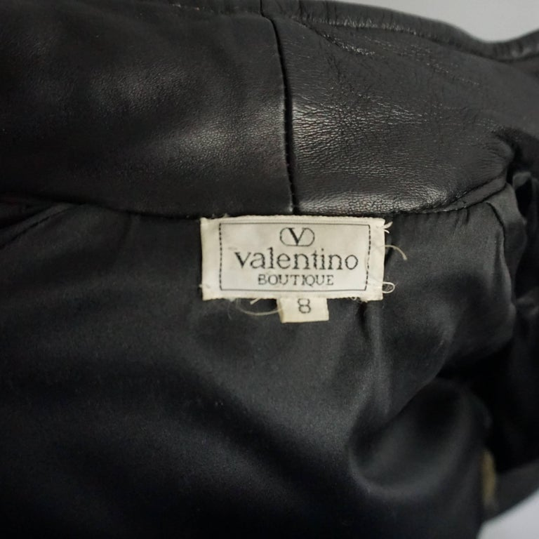 Valentino Black Ruched Leather Jacket with Belt - M - 1990s  For Sale 1