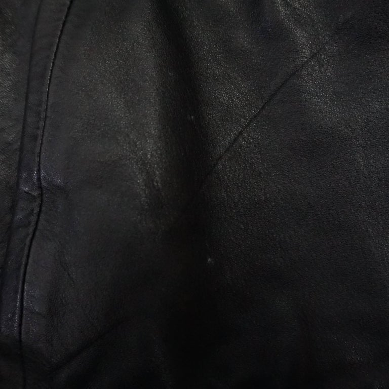 Valentino Black Ruched Leather Jacket with Belt - M - 1990s  For Sale 3