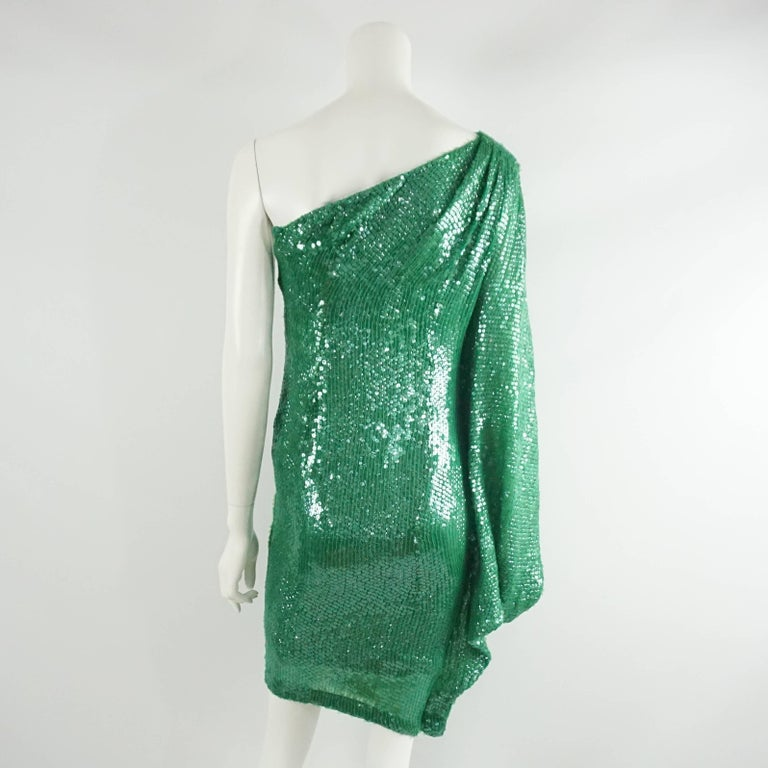 Naeem Khan Green Sequin One Shoulder Cocktail Dress - S In Fair Condition For Sale In Palm Beach, FL