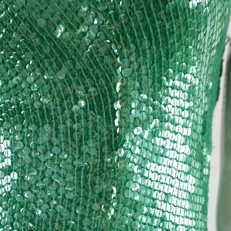 Naeem Khan Green Sequin One Shoulder Cocktail Dress - S For Sale 1