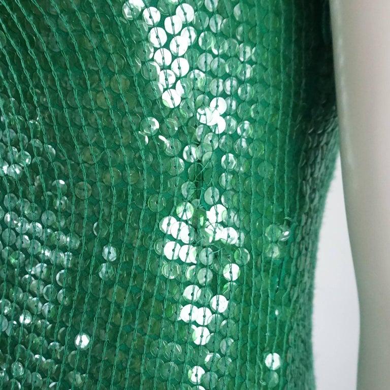 Naeem Khan Green Sequin One Shoulder Cocktail Dress - S For Sale 2