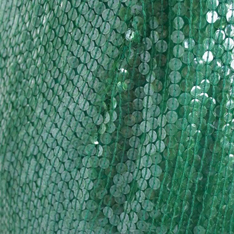 Naeem Khan Green Sequin One Shoulder Cocktail Dress - S For Sale 3