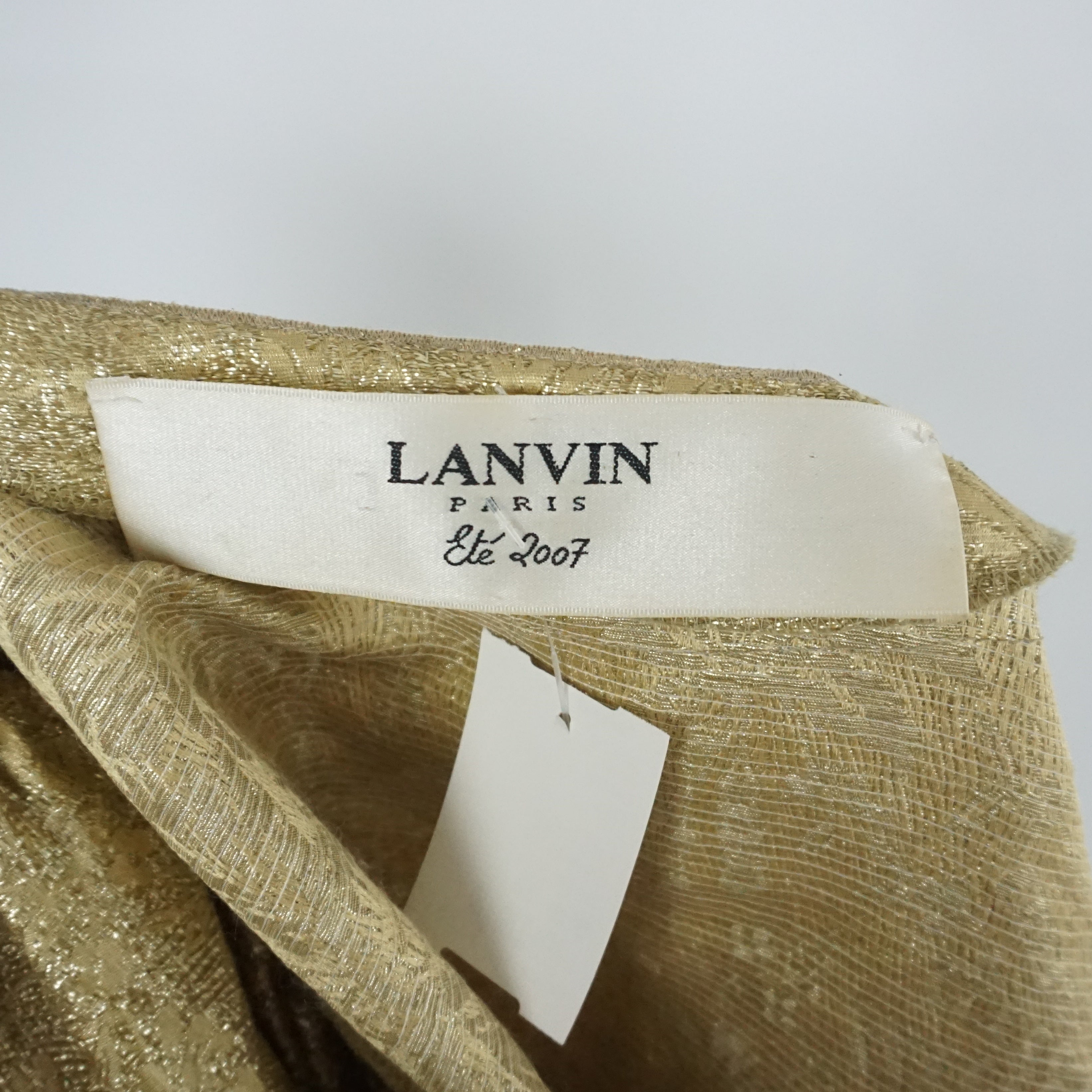 5f7389c8d4f Lanvin Gold Silk Brocade Short Sleeve Jacket - Sz 36 - Circa 2007 For Sale  at 1stdibs