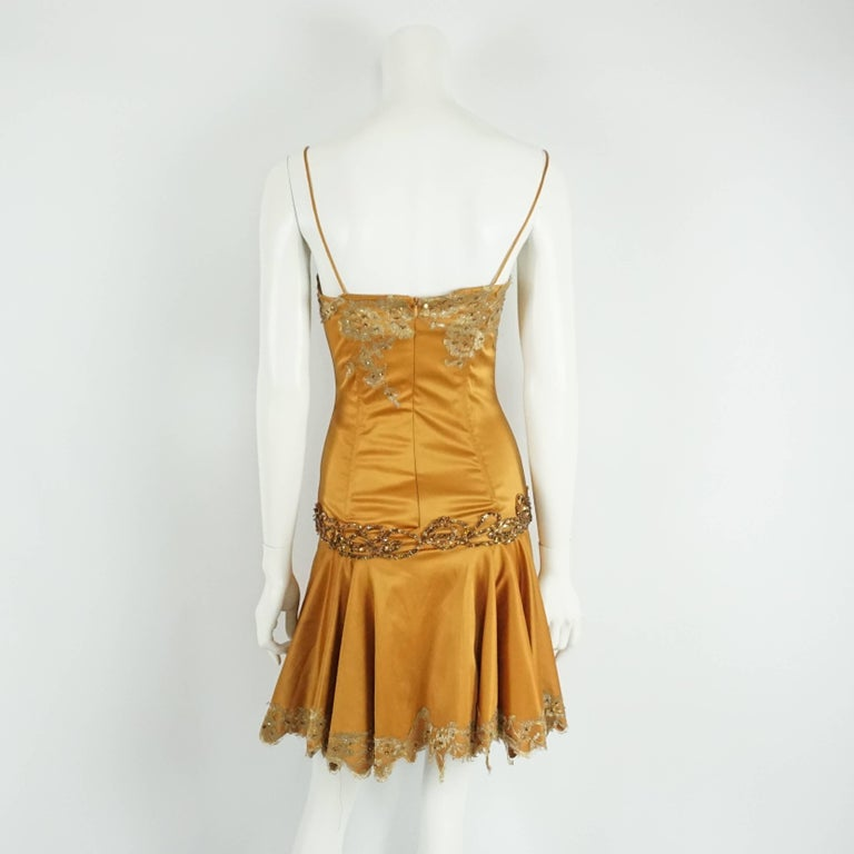 Mandalay Burnt Orange Satin and Beaded Lace Evening Dress-2 In Good Condition For Sale In Palm Beach, FL
