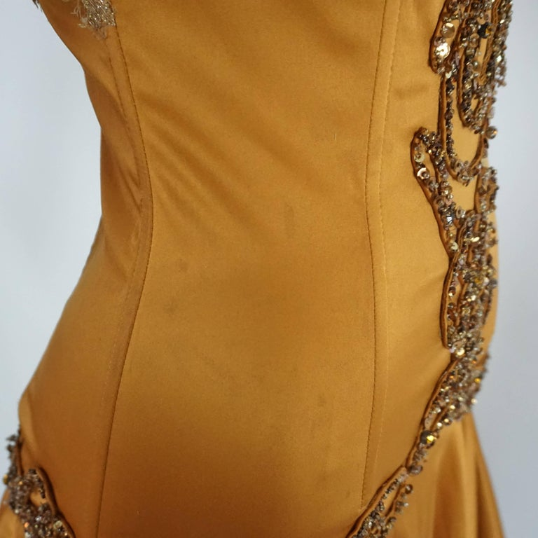 Mandalay Burnt Orange Satin and Beaded Lace Evening Dress-2 For Sale 2