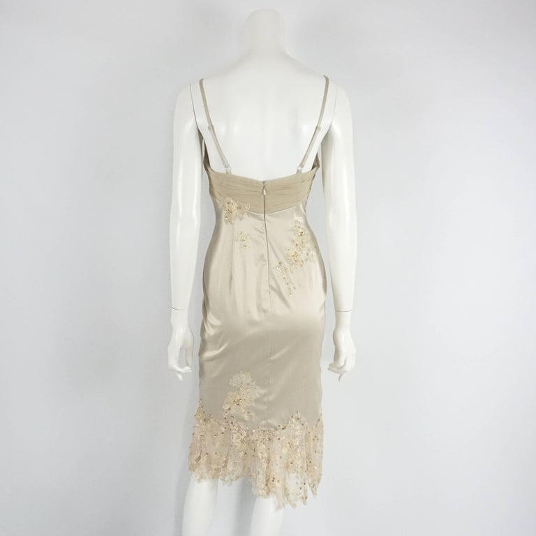Beige Mandalay Silk and Beaded Lace Evening Dress-2 For Sale