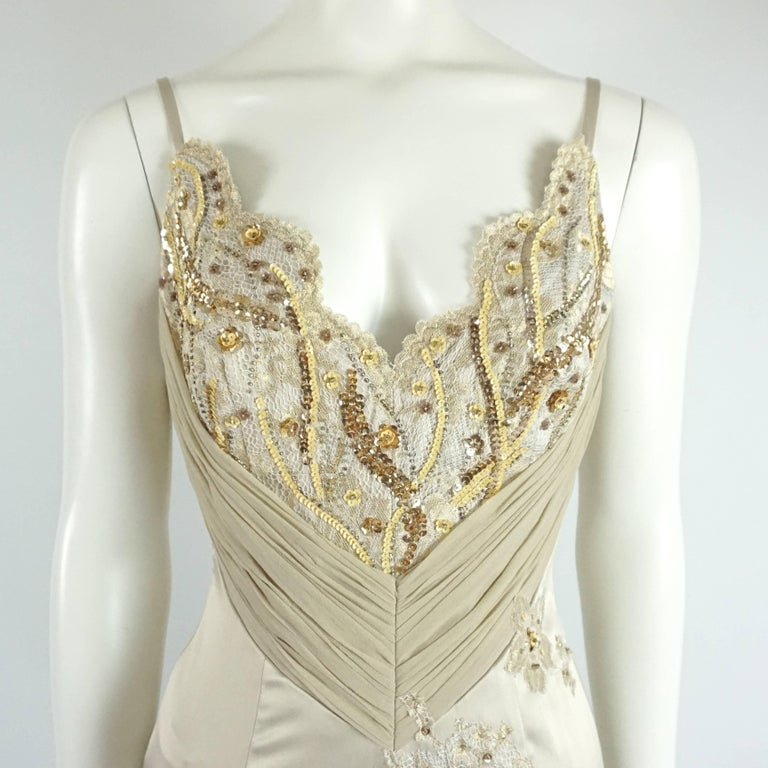 Mandalay Silk and Beaded Lace Evening Dress-2 In Excellent Condition For Sale In Palm Beach, FL
