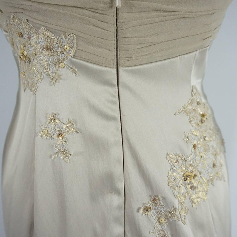 Mandalay Silk and Beaded Lace Evening Dress-2 For Sale 1