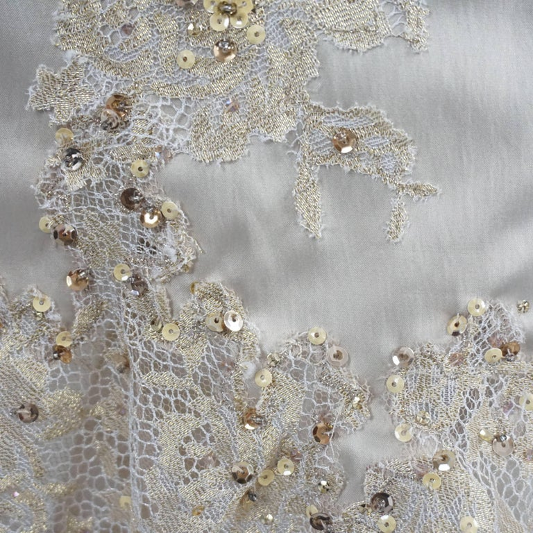 Mandalay Silk and Beaded Lace Evening Dress-2 For Sale 2
