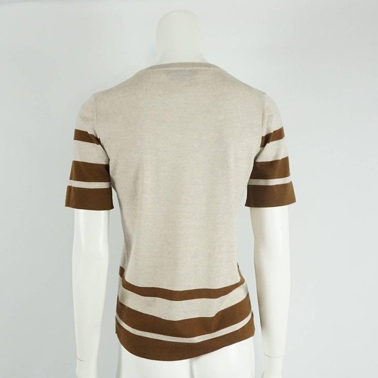 Gray Salvatore Ferragamo Grey and Brown Virgin Wool Top - M  For Sale