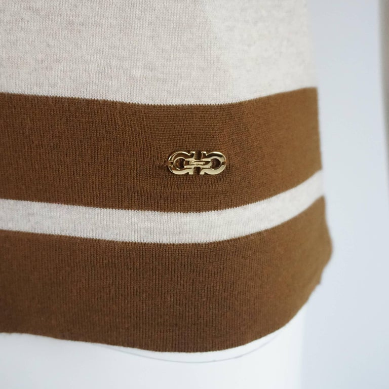 Salvatore Ferragamo Grey and Brown Virgin Wool Top - M  In Excellent Condition For Sale In Palm Beach, FL