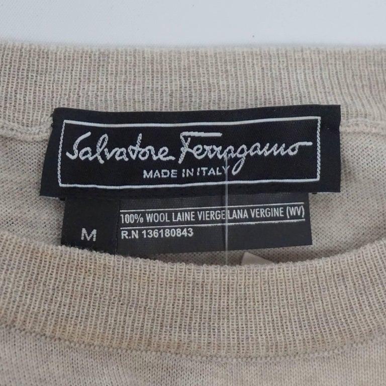 Women's Salvatore Ferragamo Grey and Brown Virgin Wool Top - M  For Sale