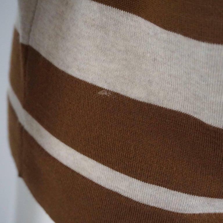 Salvatore Ferragamo Grey and Brown Virgin Wool Top - M  For Sale 2