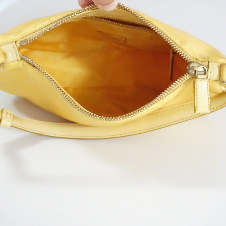 Prada Yellow Nylon and Leather Baguette  2
