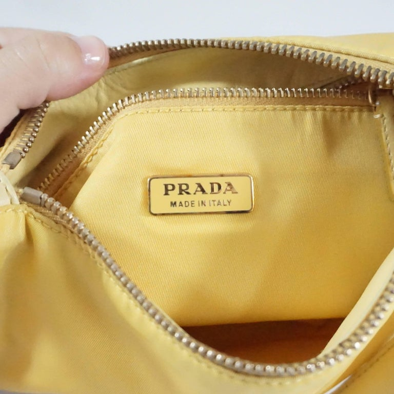 6a76a546735 Prada Yellow Nylon and Leather Baguette For Sale 3