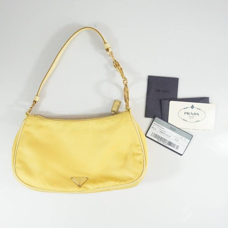Prada Yellow Nylon and Leather Baguette  4