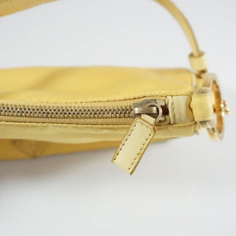 Prada Yellow Nylon and Leather Baguette  5