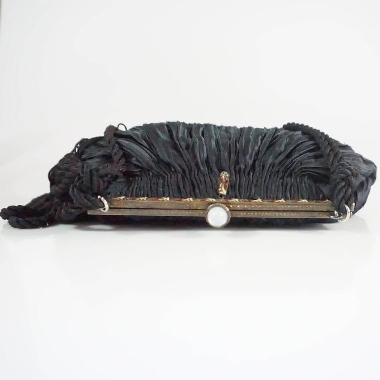 Revivals Black Satin Crossbody Bag with Tassels - 1990s  In Fair Condition For Sale In Palm Beach, FL