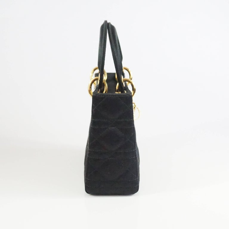 Christian Dior Black Satin Mini Strass Lady Dior Bag with Rhinestones 2