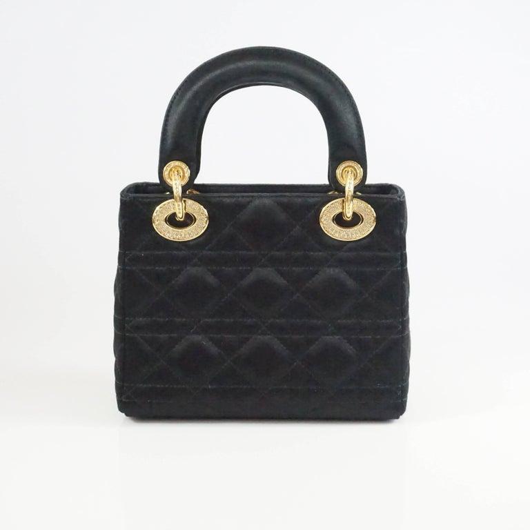 Christian Dior Black Satin Mini Strass Lady Dior Bag with Rhinestones 3