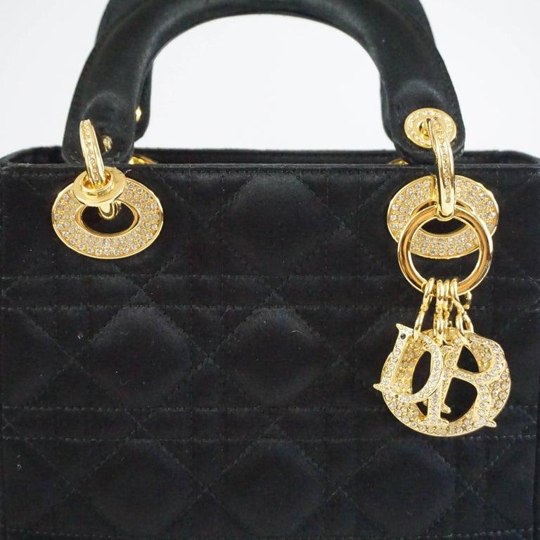 Christian Dior Black Satin Mini Strass Lady Dior Bag with Rhinestones 5
