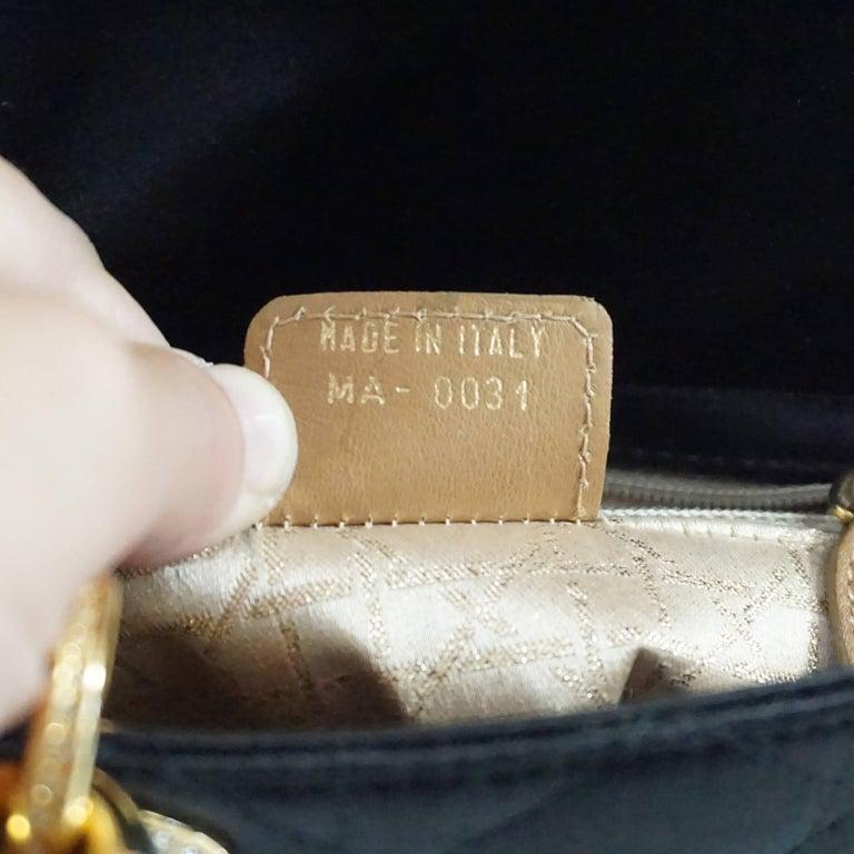 Christian Dior Black Satin Mini Strass Lady Dior Bag with Rhinestones 8