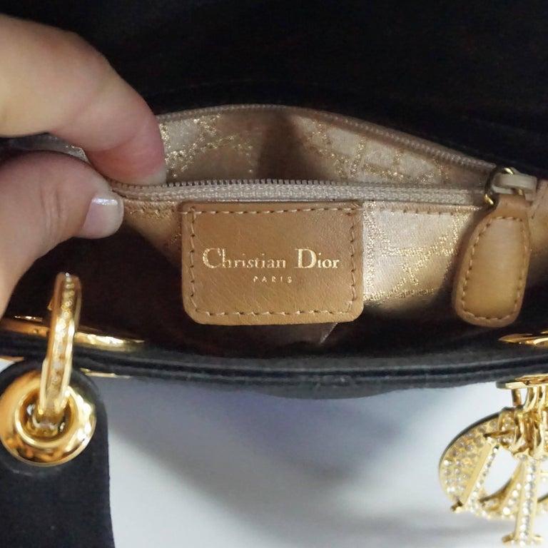 Christian Dior Black Satin Mini Strass Lady Dior Bag with Rhinestones 7