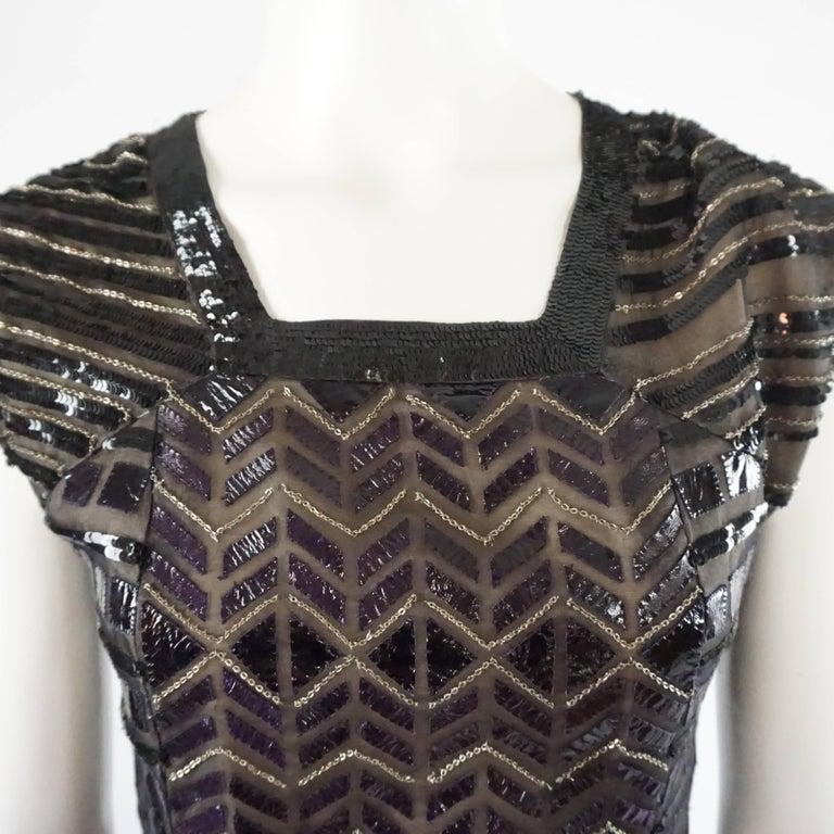 Oscar de la Renta Black and Brown Sequin and Leather Applique Dress - M 4