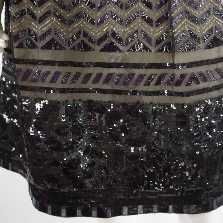 Oscar de la Renta Black and Brown Sequin and Leather Applique Dress - M For Sale 1