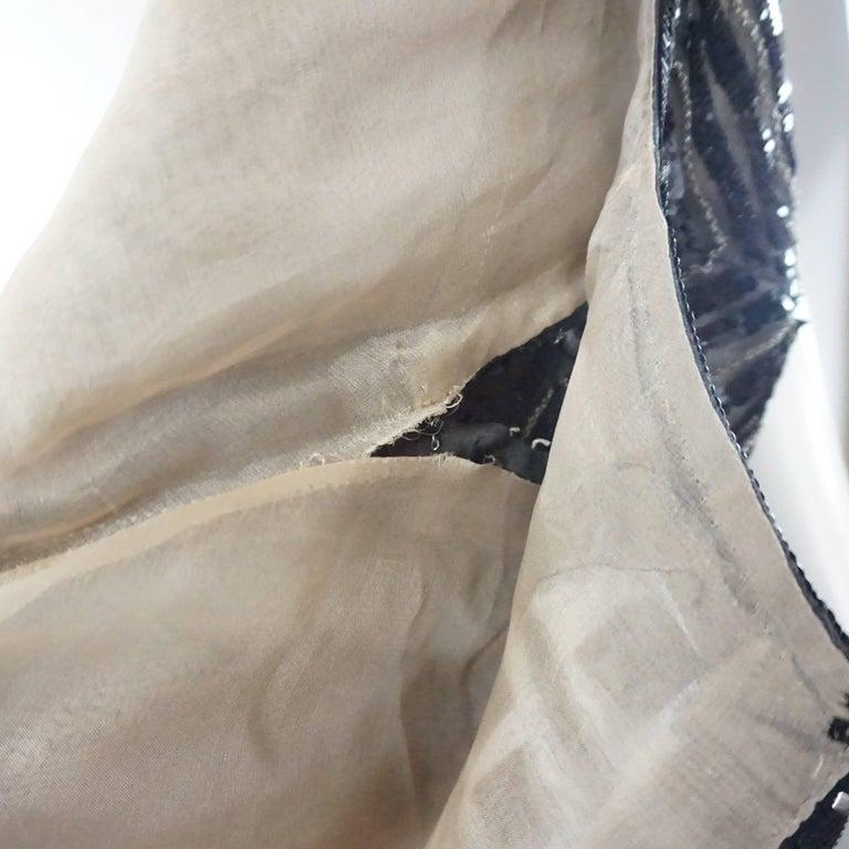 Oscar de la Renta Black and Brown Sequin and Leather Applique Dress - M 7