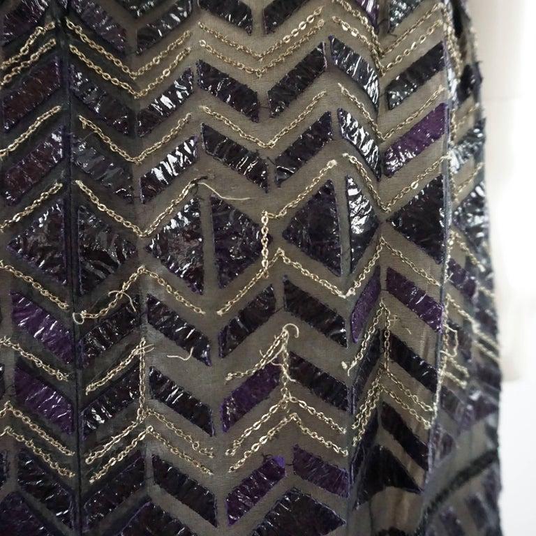 Oscar de la Renta Black and Brown Sequin and Leather Applique Dress - M 8