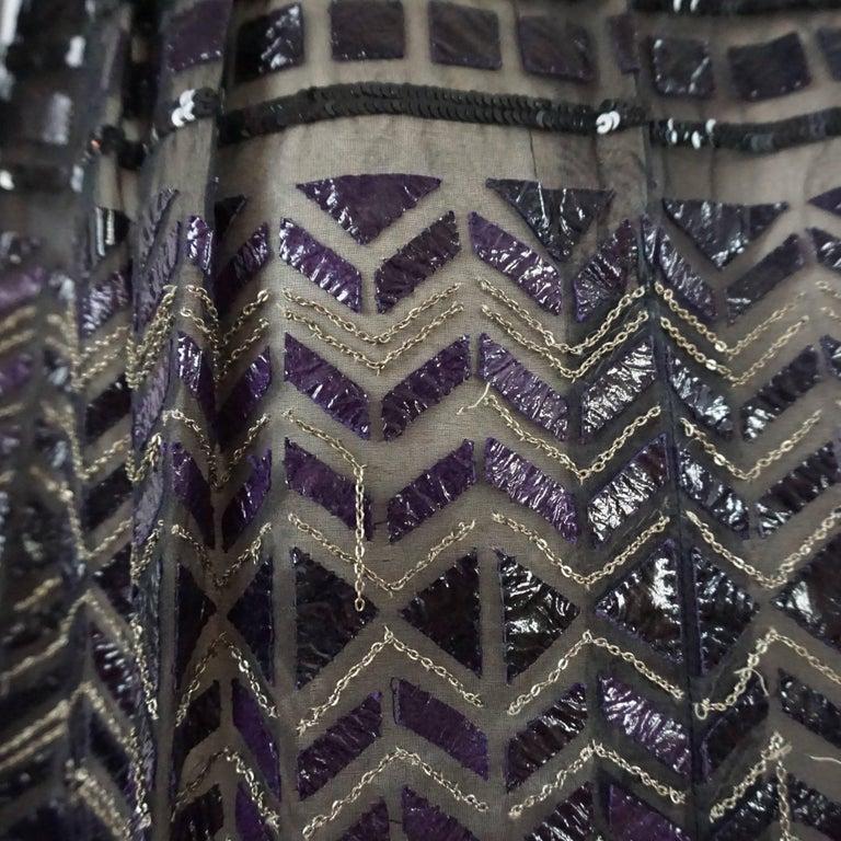 Oscar de la Renta Black and Brown Sequin and Leather Applique Dress - M 9