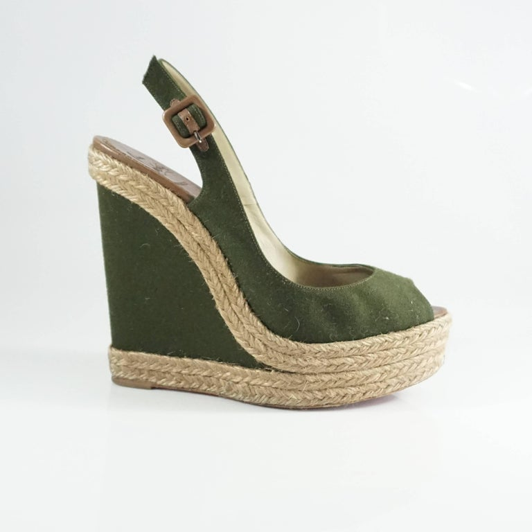 Christian Louboutin Green Flannel and Straw Wedges - 41 2