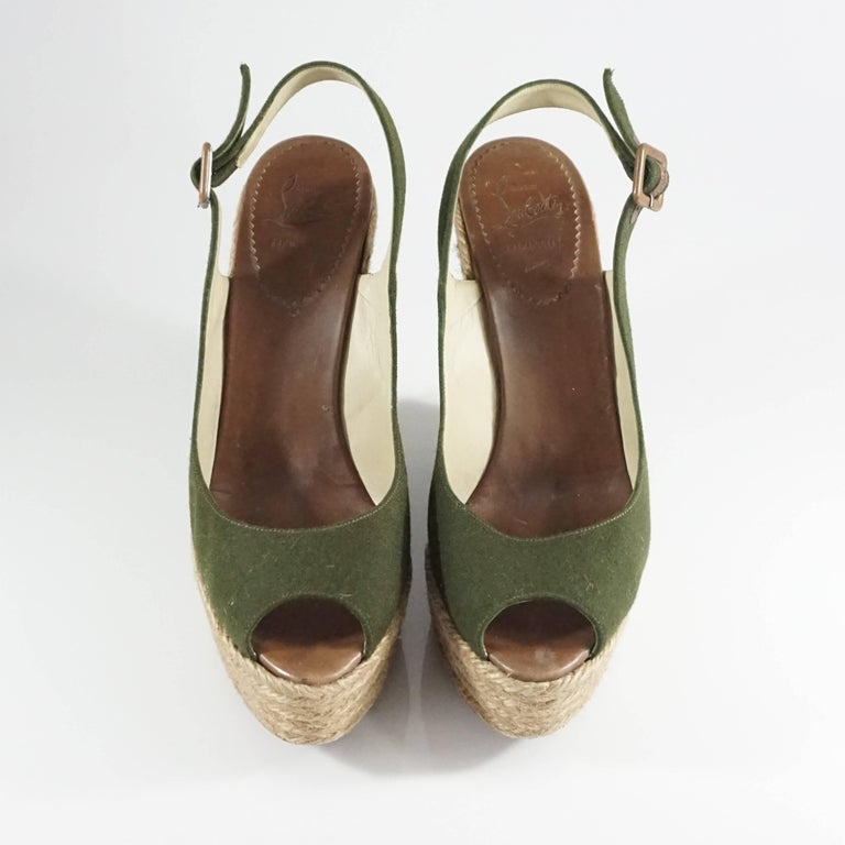 Christian Louboutin Green Flannel and Straw Wedges - 41 3