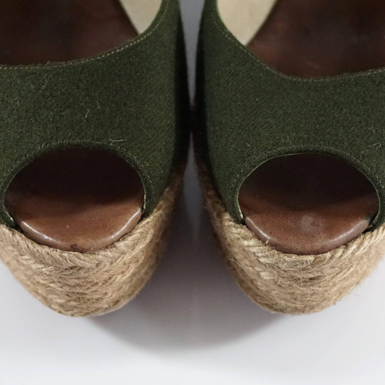 Christian Louboutin Green Flannel and Straw Wedges - 41 6