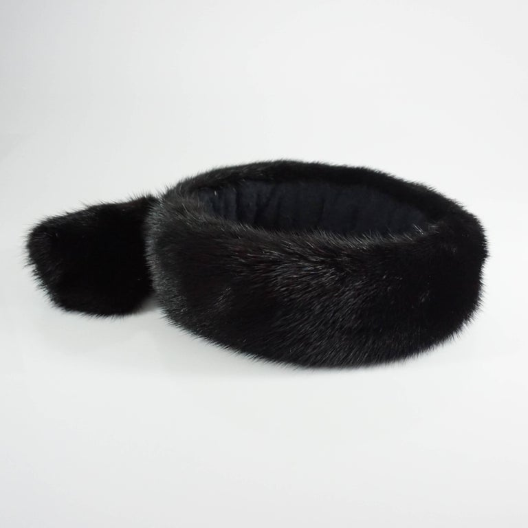 Birger Christensen Dark Brown Mink Head Band  In Good Condition For Sale In Palm Beach, FL