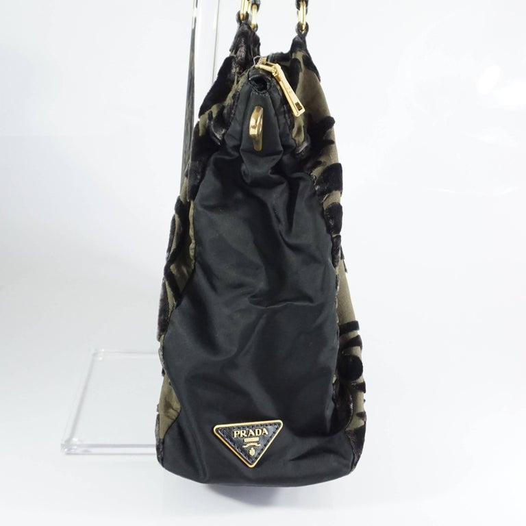 Prada Olive and Black Cut Velvet Bag  In Good Condition For Sale In Palm Beach, FL