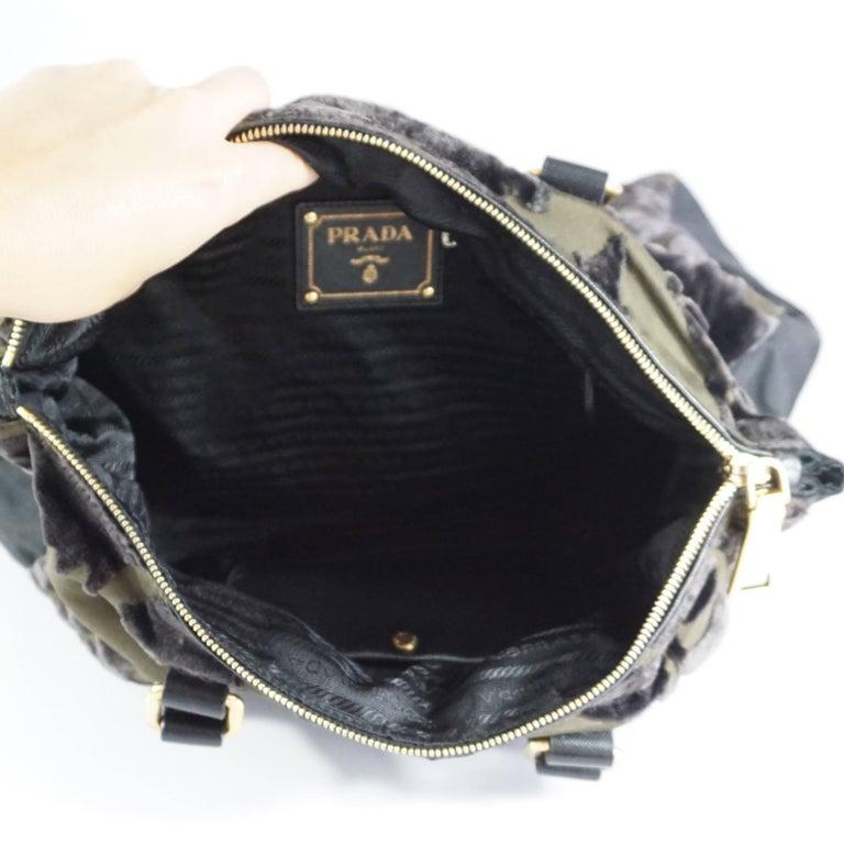 Women's Prada Olive and Black Cut Velvet Bag  For Sale