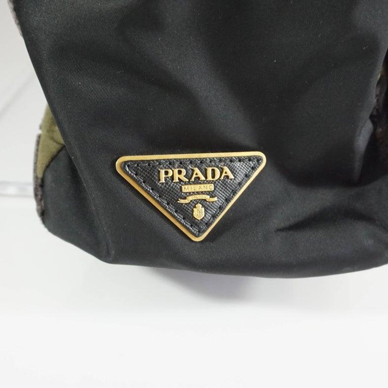 Prada Olive and Black Cut Velvet Bag  For Sale 2