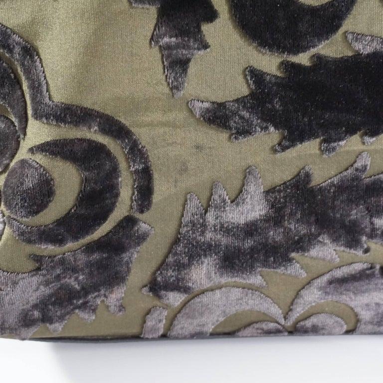 Prada Olive and Black Cut Velvet Bag  For Sale 3