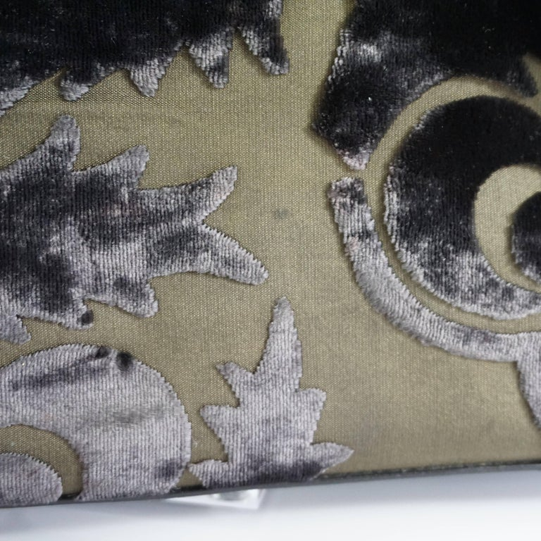 Prada Olive and Black Cut Velvet Bag  For Sale 4